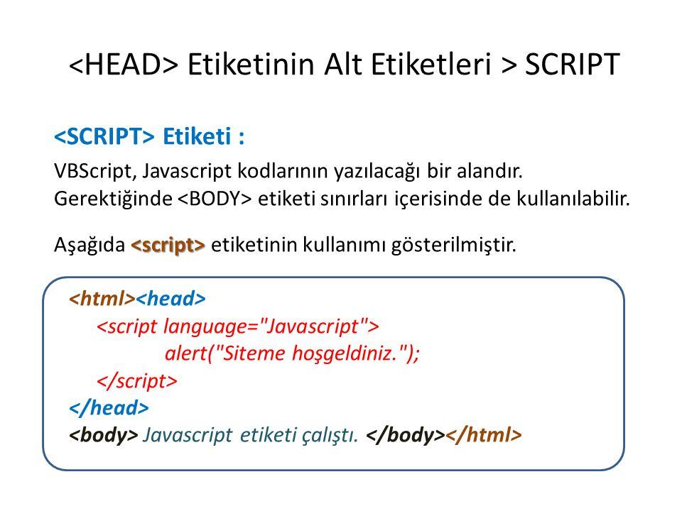 Etiketinin Alt Etiketleri > SCRIPT Etiketi : VBScript, Javascript kodlarının yazılacağı bir alandır. Gerektiğinde etiketi sınırları içerisinde de kull