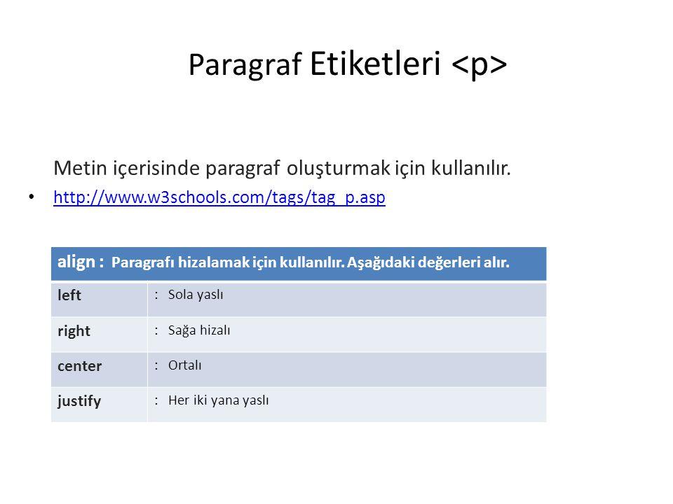 Paragraf Etiketleri Metin içerisinde paragraf oluşturmak için kullanılır. • http://www.w3schools.com/tags/tag_p.asp http://www.w3schools.com/tags/tag_