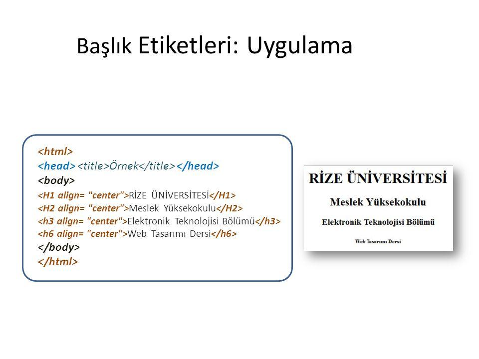 Uy Başlık Etiketleri: Uygulamagulama Örnek RİZE ÜNİVERSİTESİ Meslek Yüksekokulu Elektronik Teknolojisi Bölümü Web Tasarımı Dersi