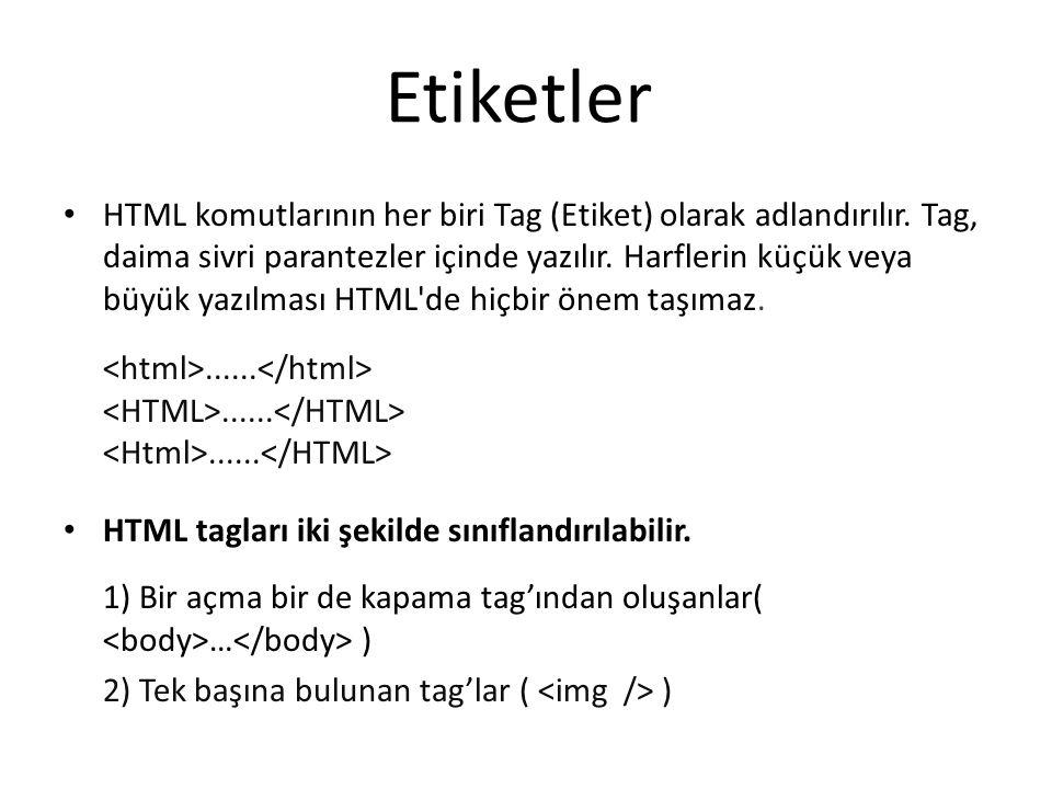 • HTML komutlarının her biri Tag (Etiket) olarak adlandırılır. Tag, daima sivri parantezler içinde yazılır. Harflerin küçük veya büyük yazılması HTML'