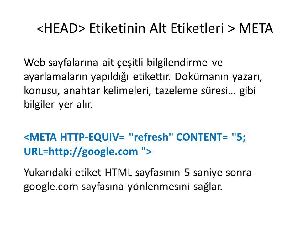 Etiketinin Alt Etiketleri > META Türkçe Sayfanın içeriğinin Türkçe olduğunu göstermektedir.