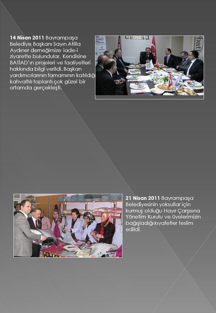 14 Nisan 2011 Bayrampaşa Belediye Başkanı Sayın Atilla Aydıner derneğimize iade-i ziyarette bulundular. Kendisine BATİAD'ın projeleri ve faaliyetleri
