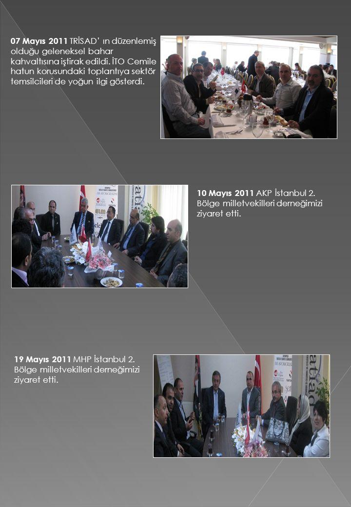 07 Mayıs 2011 TRİSAD' ın düzenlemiş olduğu geleneksel bahar kahvaltısına iştirak edildi. İTO Cemile hatun korusundaki toplantıya sektör temsilcileri d