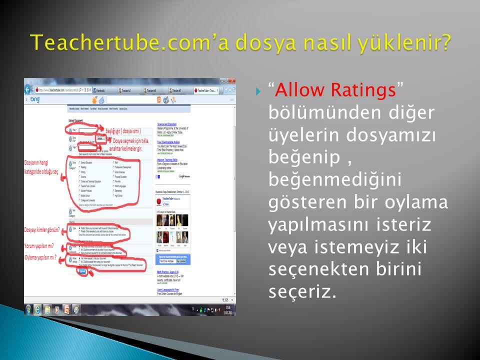  Allow Ratings bölümünden diğer üyelerin dosyamızı beğenip, beğenmediğini gösteren bir oylama yapılmasını isteriz veya istemeyiz iki seçenekten birini seçeriz.