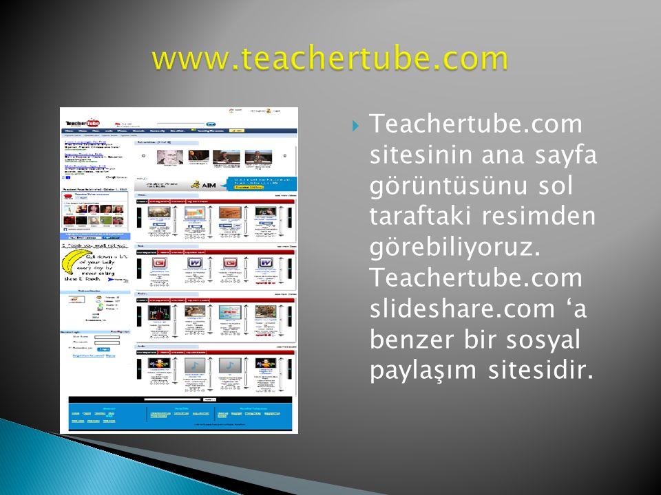  Teachertube.com genellikle öğretmenlerin ve öğretmen adaylarının tercih ettiği bilgi, deneyim ve tecrübelerini paylaştıkları bir sosyal paylaşım sitesidir.