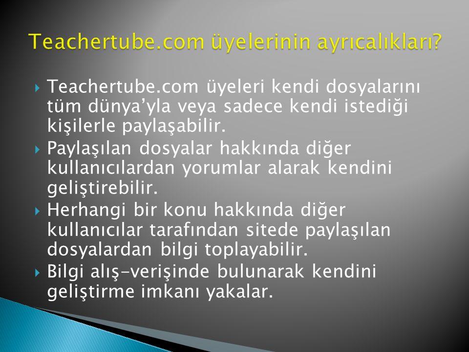  Teachertube.com üyeleri kendi dosyalarını tüm dünya'yla veya sadece kendi istediği kişilerle paylaşabilir.