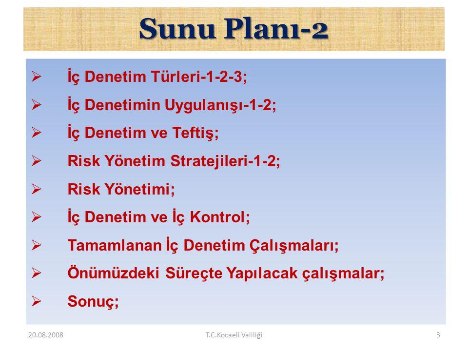 SunuPlanı-1 Sunu Planı-1  AB Müzakere Sürecinde İç Denetim  İç Denetimin Tanımı  Amacı ve Kapsamı;  İç Denetim Alanındaki Düzenlemeler-1-2;  Kamu