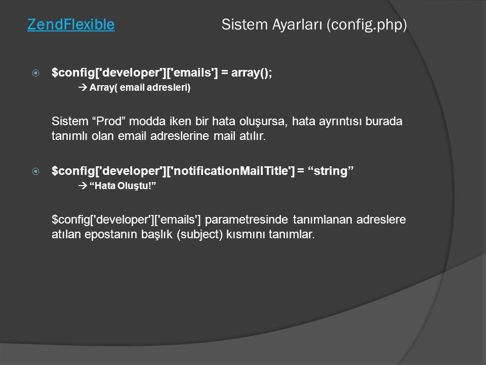 "ZendFlexible Sistem Ayarları (config.php)  $config['developer']['emails'] = array();  Array( email adresleri) Sistem ""Prod"" modda iken bir hata oluş"