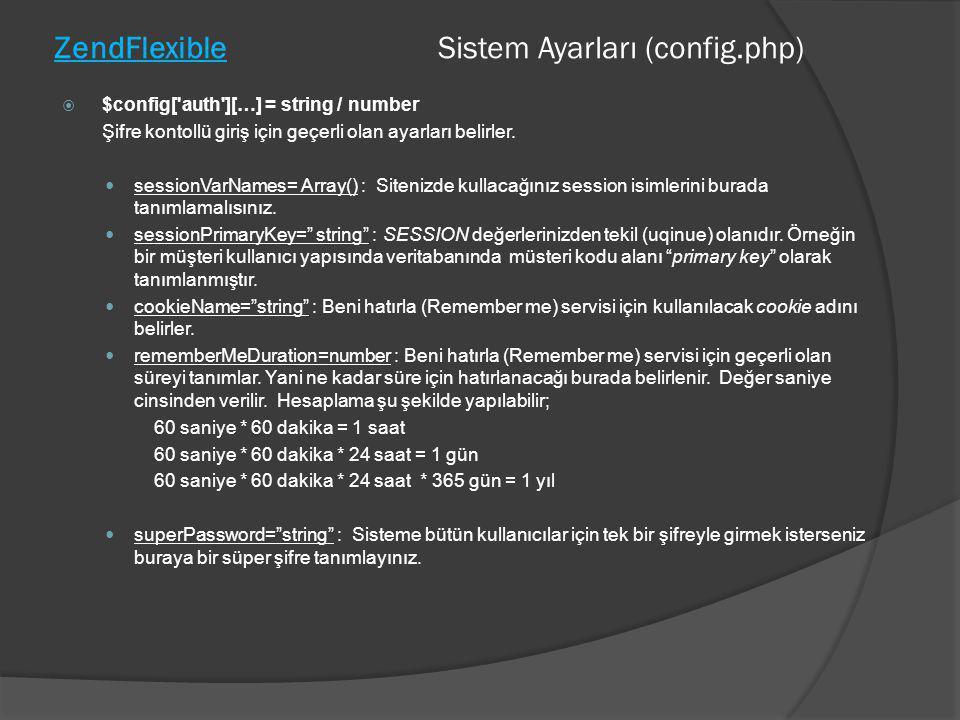 ZendFlexible Sistem Ayarları (config.php)  $config['auth'][…] = string / number Şifre kontollü giriş için geçerli olan ayarları belirler.  sessionVa