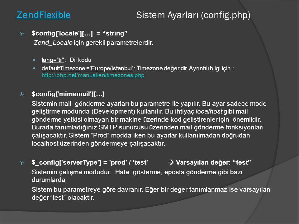 "ZendFlexible Sistem Ayarları (config.php)  $config['locale'][…] = ""string"" Zend_Locale için gerekli parametrelerdir.  lang=""tr"" : Dil kodu  default"