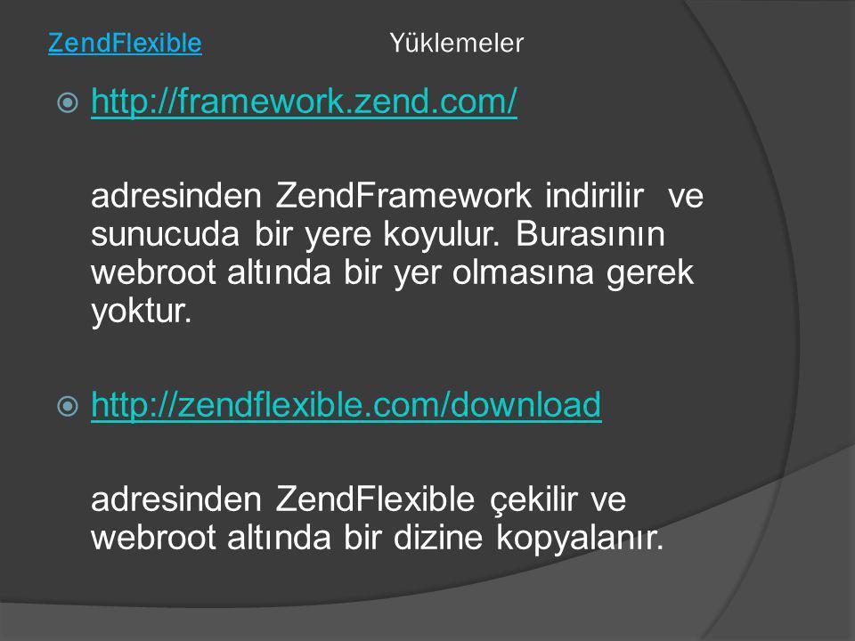ZendFlexibleYüklemeler  http://framework.zend.com/ http://framework.zend.com/ adresinden ZendFramework indirilir ve sunucuda bir yere koyulur. Burası