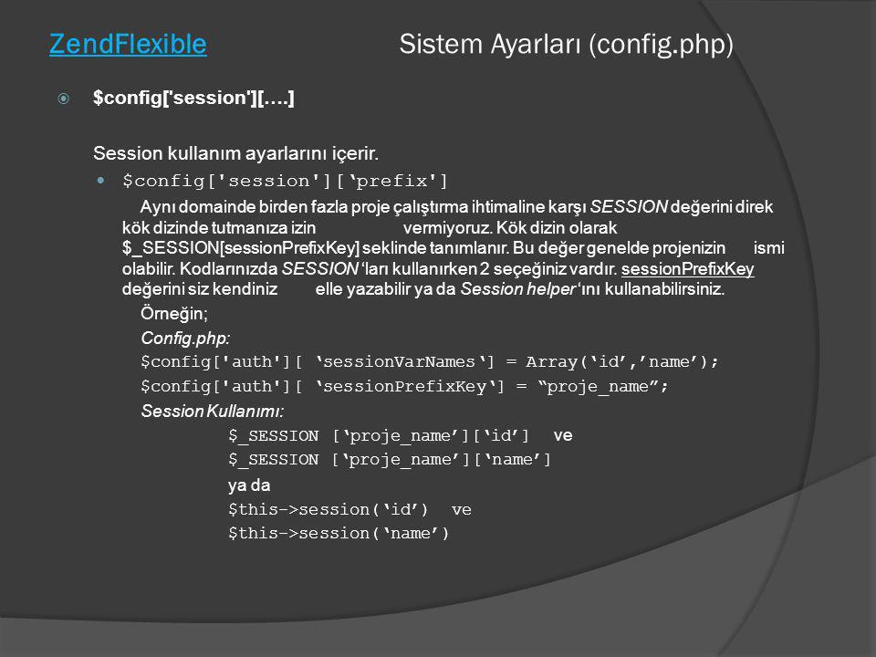ZendFlexible Sistem Ayarları (config.php)  $config['session'][….] Session kullanım ayarlarını içerir.  $config['session']['prefix'] Aynı domainde bi