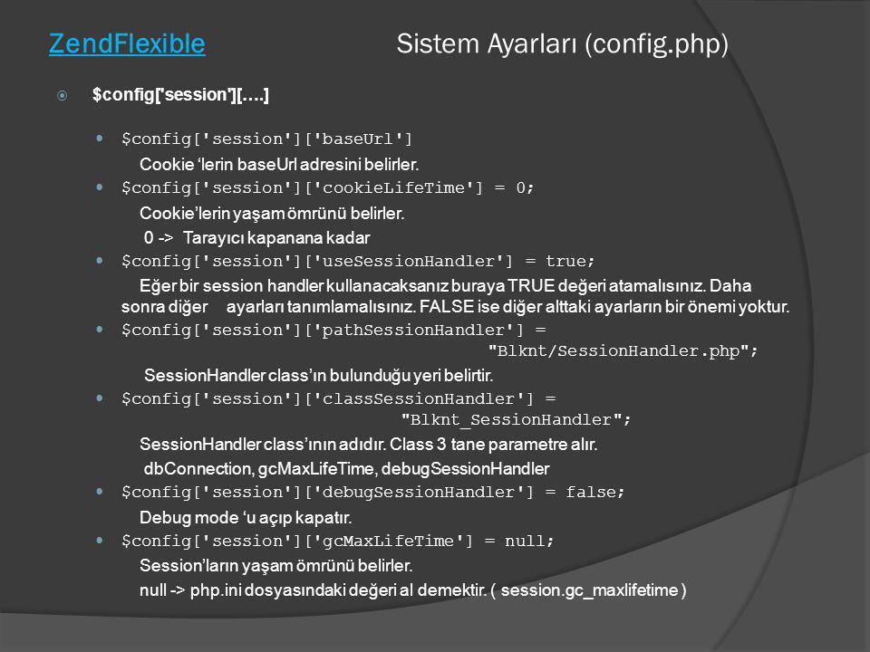 ZendFlexible Sistem Ayarları (config.php)  $config['session'][….]  $config['session']['baseUrl'] Cookie 'lerin baseUrl adresini belirler.  $config[