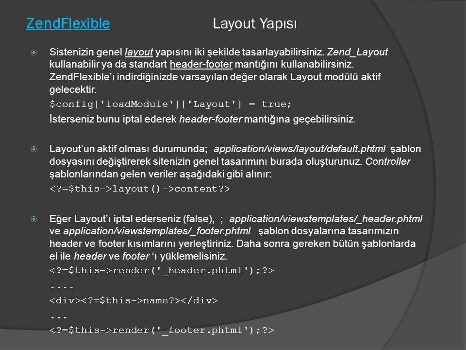 ZendFlexible Layout Yapısı  Sistenizin genel layout yapısını iki şekilde tasarlayabilirsiniz. Zend_Layout kullanabilir ya da standart header-footer m