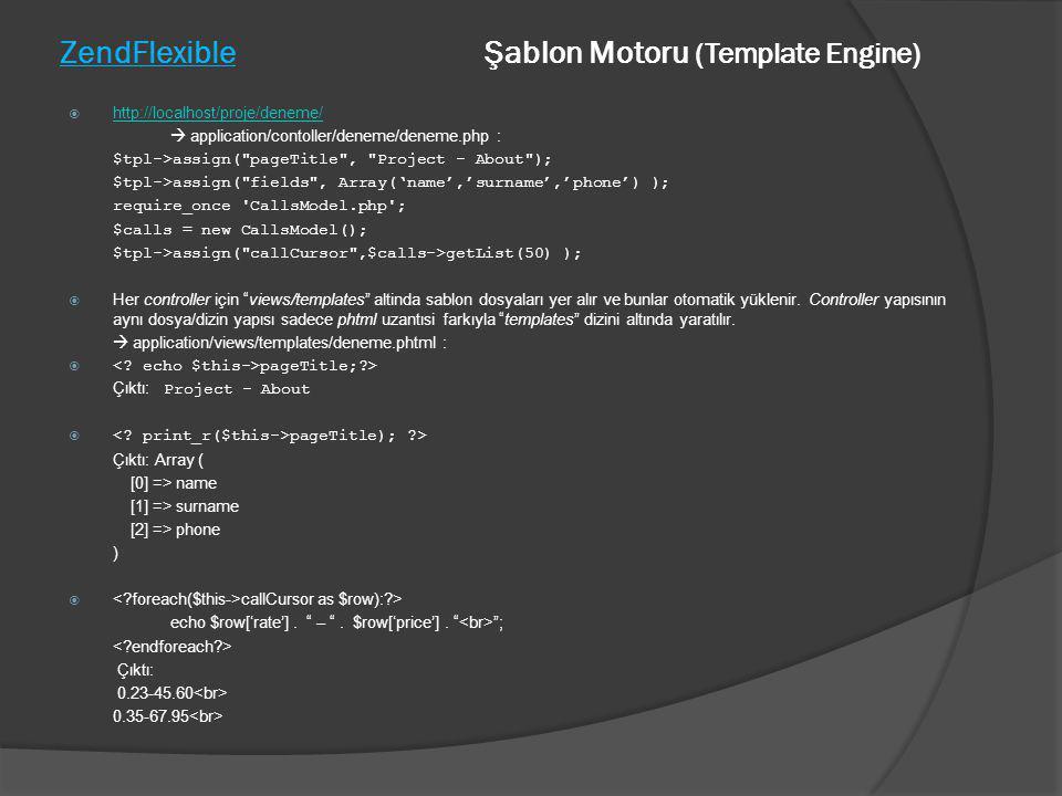 ZendFlexible Şablon Motoru (Template Engine)  http://localhost/proje/deneme/ http://localhost/proje/deneme/  application/contoller/deneme/deneme.php