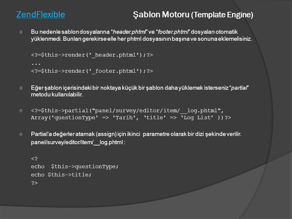 ZendFlexible Şablon Motoru (Template Engine)  Bu nedenle sablon dosyalarına header.phtml ve footer.phtml dosyaları otomatik yüklenmedi.
