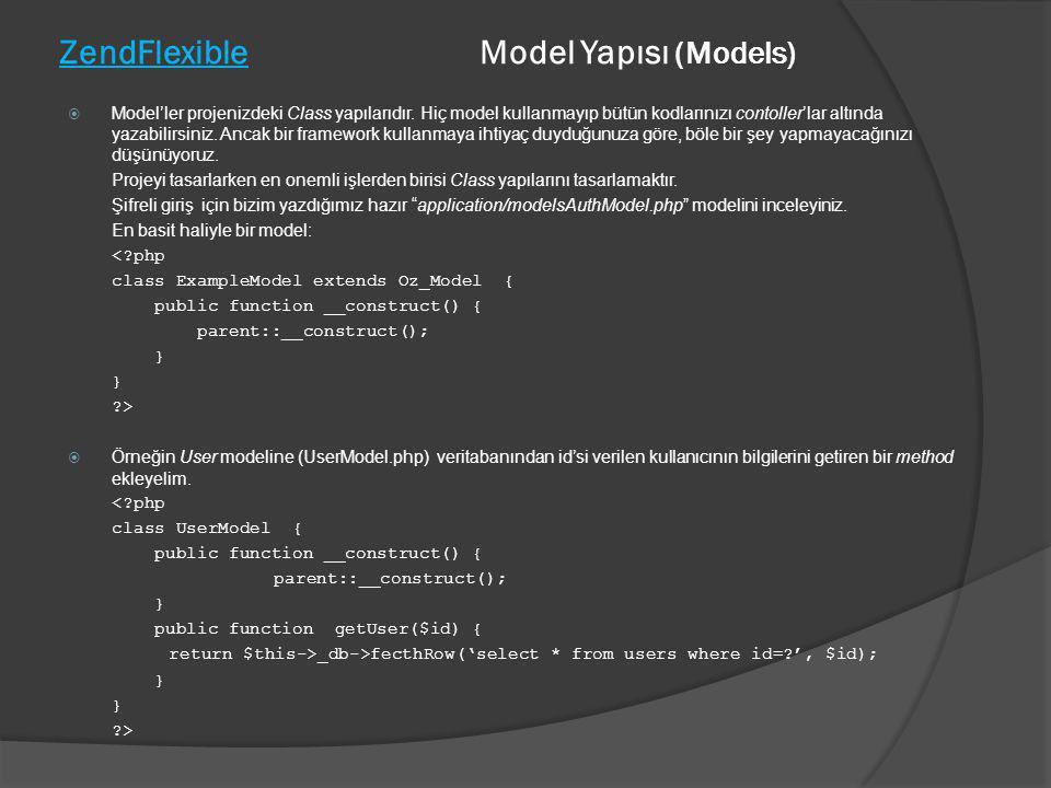 ZendFlexible Model Yapısı (Models)  Model'ler projenizdeki Class yapılarıdır. Hiç model kullanmayıp bütün kodlarınızı contoller'lar altında yazabilir