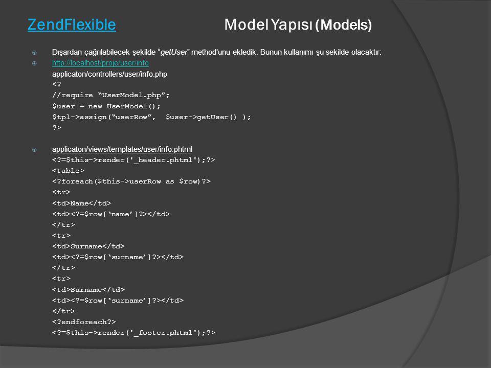 """ZendFlexible Model Yapısı (Models)  Dışardan çağrılabilecek şekilde """"getUser"""" method'unu ekledik. Bunun kullanımı şu sekilde olacaktır:  http://loca"""