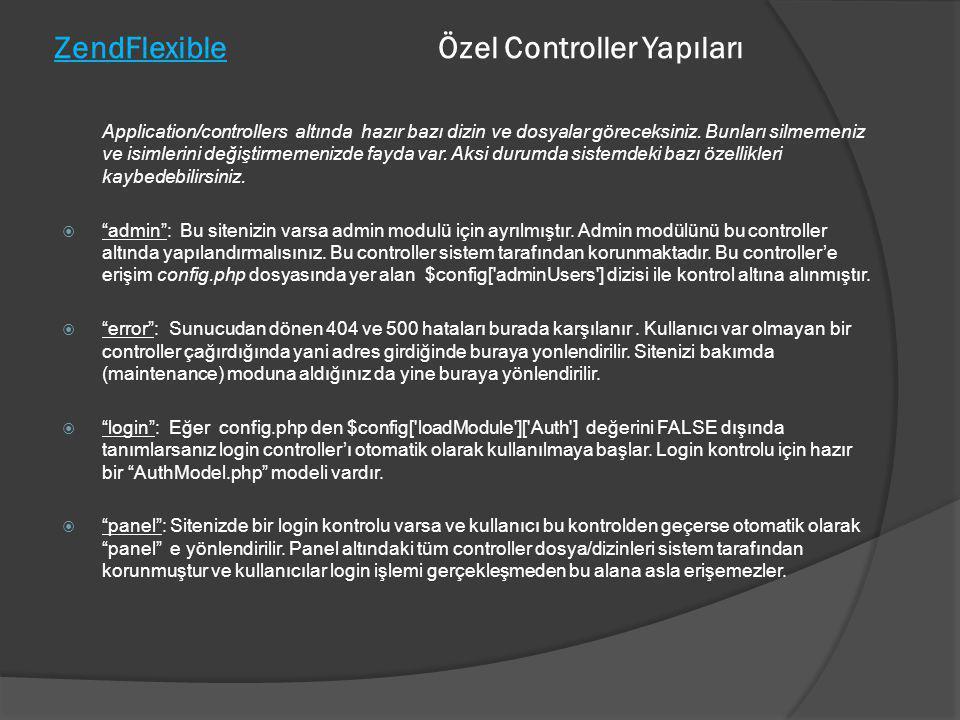 ZendFlexible Özel Controller Yapıları Application/controllers altında hazır bazı dizin ve dosyalar göreceksiniz. Bunları silmemeniz ve isimlerini deği