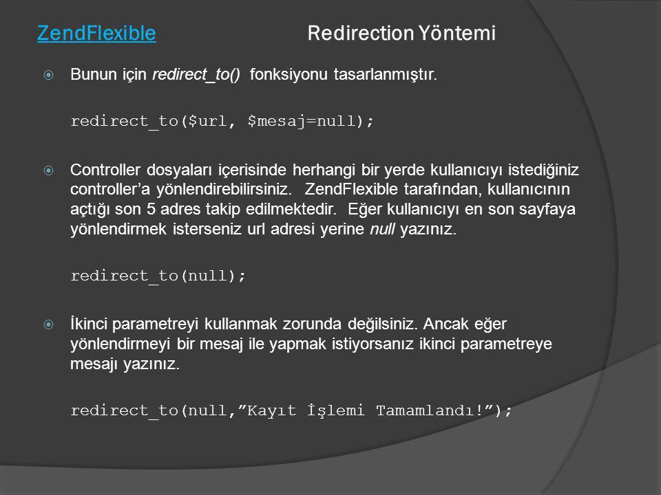 ZendFlexible Redirection Yöntemi  Bunun için redirect_to() fonksiyonu tasarlanmıştır. redirect_to($url, $mesaj=null);  Controller dosyaları içerisin