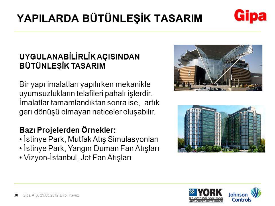 30 YAPILARDA BÜTÜNLEŞİK TASARIM Gipa A.Ş. 25.05.2012 Birol Yavuz UYGULANABİLİRLİK AÇISINDAN BÜTÜNLEŞİK TASARIM Bir yapı imalatları yapılırken mekanikl