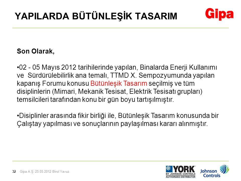 32 YAPILARDA BÜTÜNLEŞİK TASARIM Gipa A.Ş. 25.05.2012 Birol Yavuz Son Olarak, •02 - 05 Mayıs 2012 tarihilerinde yapılan, Binalarda Enerji Kullanımı ve