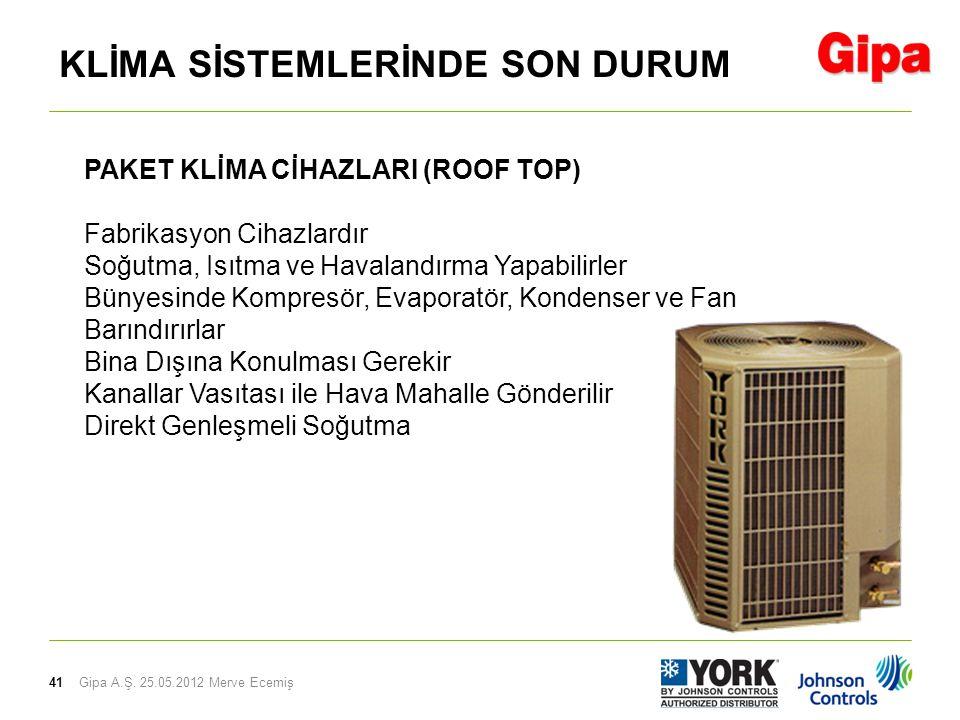 41 PAKET KLİMA CİHAZLARI (ROOF TOP) Fabrikasyon Cihazlardır Soğutma, Isıtma ve Havalandırma Yapabilirler Bünyesinde Kompresör, Evaporatör, Kondenser v