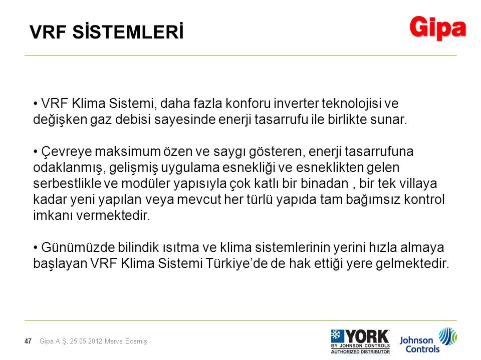 47 VRF SİSTEMLERİ Gipa A.Ş. 25.05.2012 Merve Ecemiş • VRF Klima Sistemi, daha fazla konforu inverter teknolojisi ve değişken gaz debisi sayesinde ener
