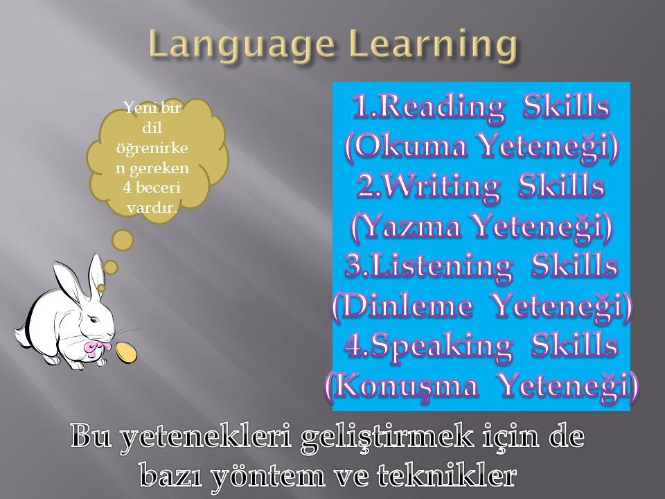 Yeni bir dil öğrenirke n gereken 4 beceri vardır.