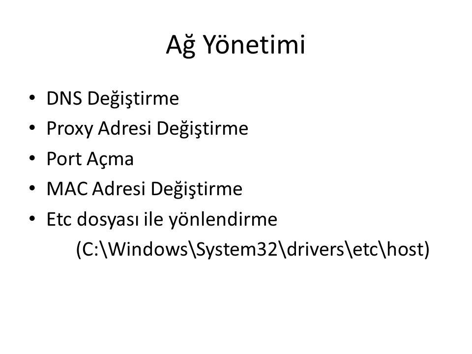 Ağ Yönetimi • DNS Değiştirme • Proxy Adresi Değiştirme • Port Açma • MAC Adresi Değiştirme • Etc dosyası ile yönlendirme (C:\Windows\System32\drivers\