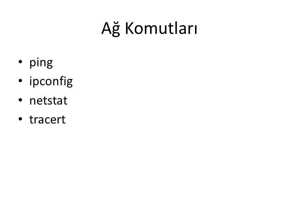 Ağ Komutları • ping • ipconfig • netstat • tracert