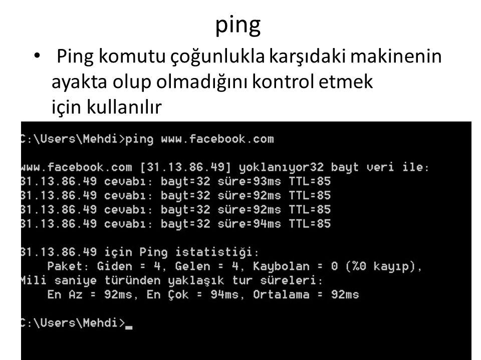 ping • Ping komutu çoğunlukla karşıdaki makinenin ayakta olup olmadığını kontrol etmek için kullanılır
