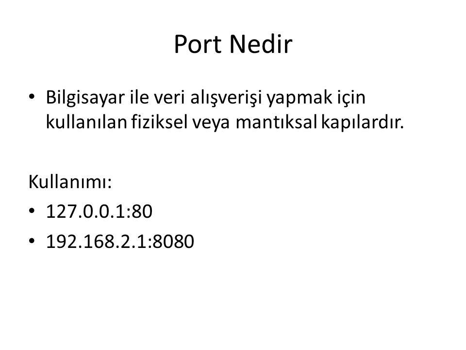 Port Nedir • Bilgisayar ile veri alışverişi yapmak için kullanılan fiziksel veya mantıksal kapılardır. Kullanımı: • 127.0.0.1:80 • 192.168.2.1:8080