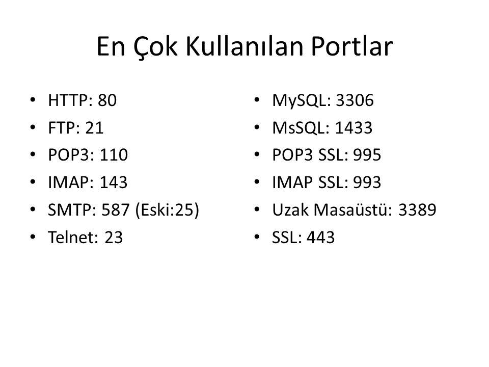 En Çok Kullanılan Portlar • HTTP: 80 • FTP: 21 • POP3: 110 • IMAP: 143 • SMTP: 587 (Eski:25) • Telnet: 23 • MySQL: 3306 • MsSQL: 1433 • POP3 SSL: 995