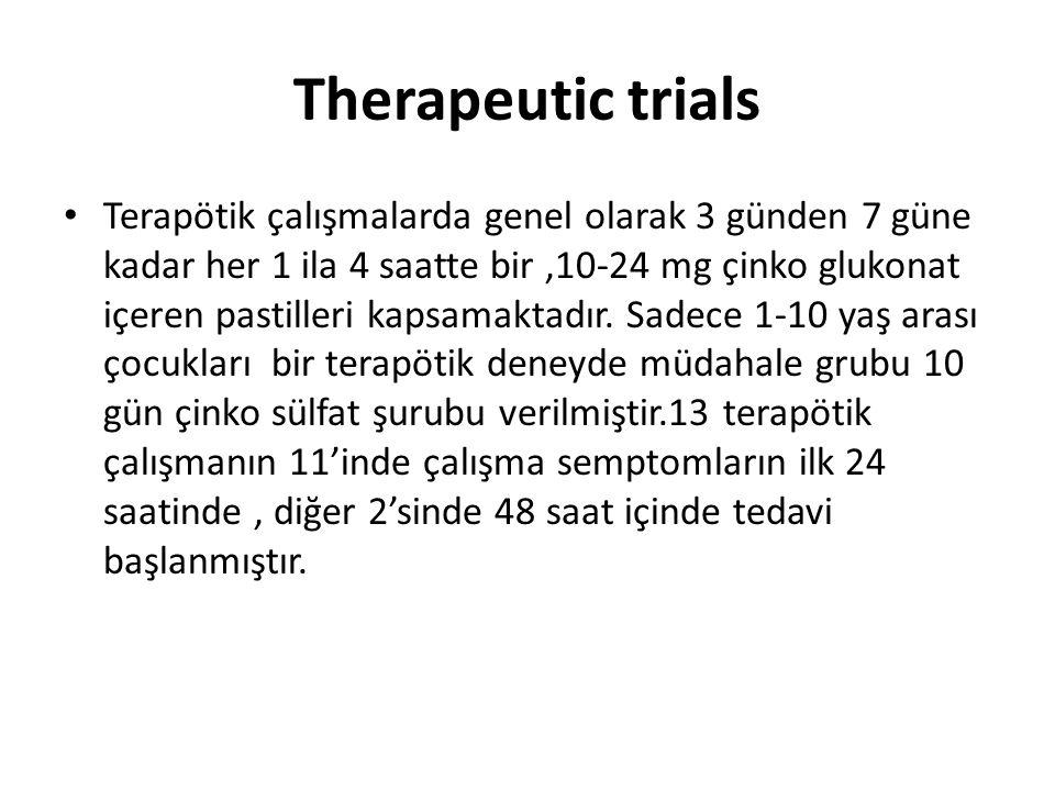 Therapeutic trials • Terapötik çalışmalarda genel olarak 3 günden 7 güne kadar her 1 ila 4 saatte bir,10-24 mg çinko glukonat içeren pastilleri kapsam