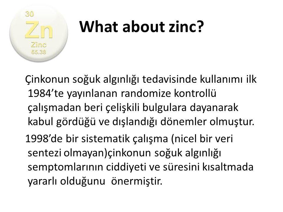 What about zinc? Çinkonun soğuk algınlığı tedavisinde kullanımı ilk 1984'te yayınlanan randomize kontrollü çalışmadan beri çelişkili bulgulara dayanar