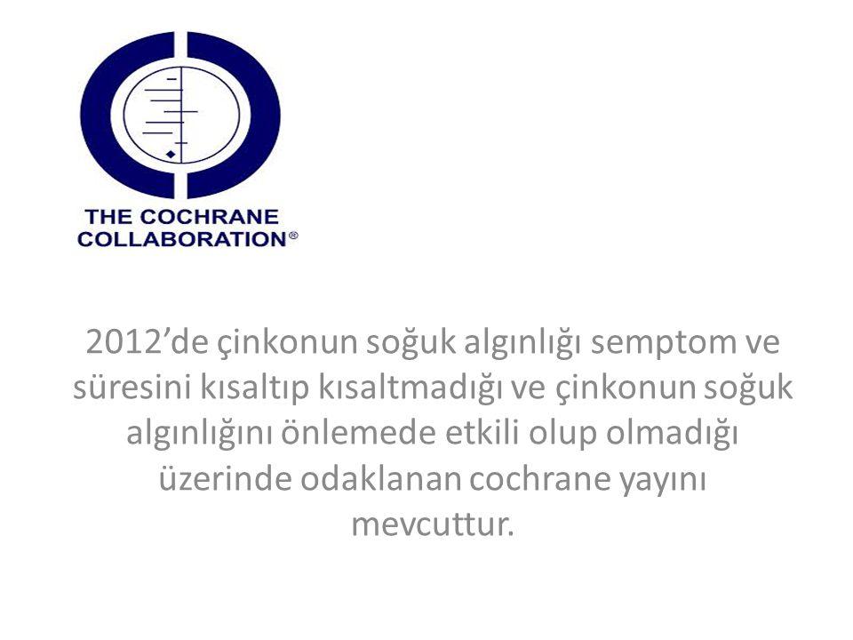 2012'de çinkonun soğuk algınlığı semptom ve süresini kısaltıp kısaltmadığı ve çinkonun soğuk algınlığını önlemede etkili olup olmadığı üzerinde odakla