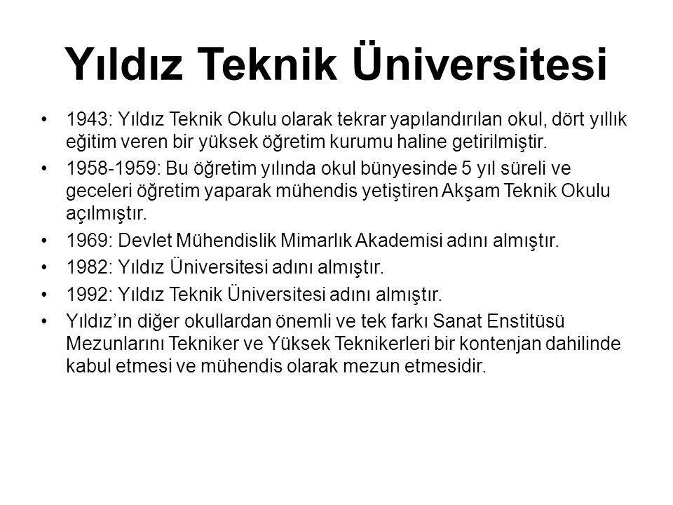 Yıldız Teknik Üniversitesi •1943: Yıldız Teknik Okulu olarak tekrar yapılandırılan okul, dört yıllık eğitim veren bir yüksek öğretim kurumu haline get