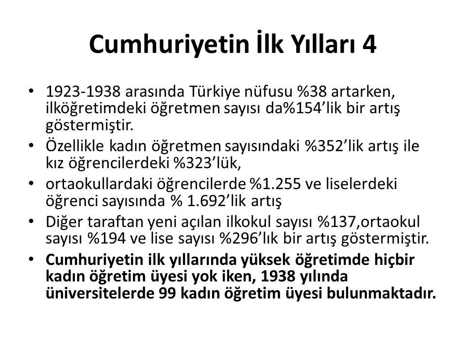 Cumhuriyetin İlk Yılları 4 • 1923-1938 arasında Türkiye nüfusu %38 artarken, ilköğretimdeki öğretmen sayısı da%154'lik bir artış göstermiştir. • Özell