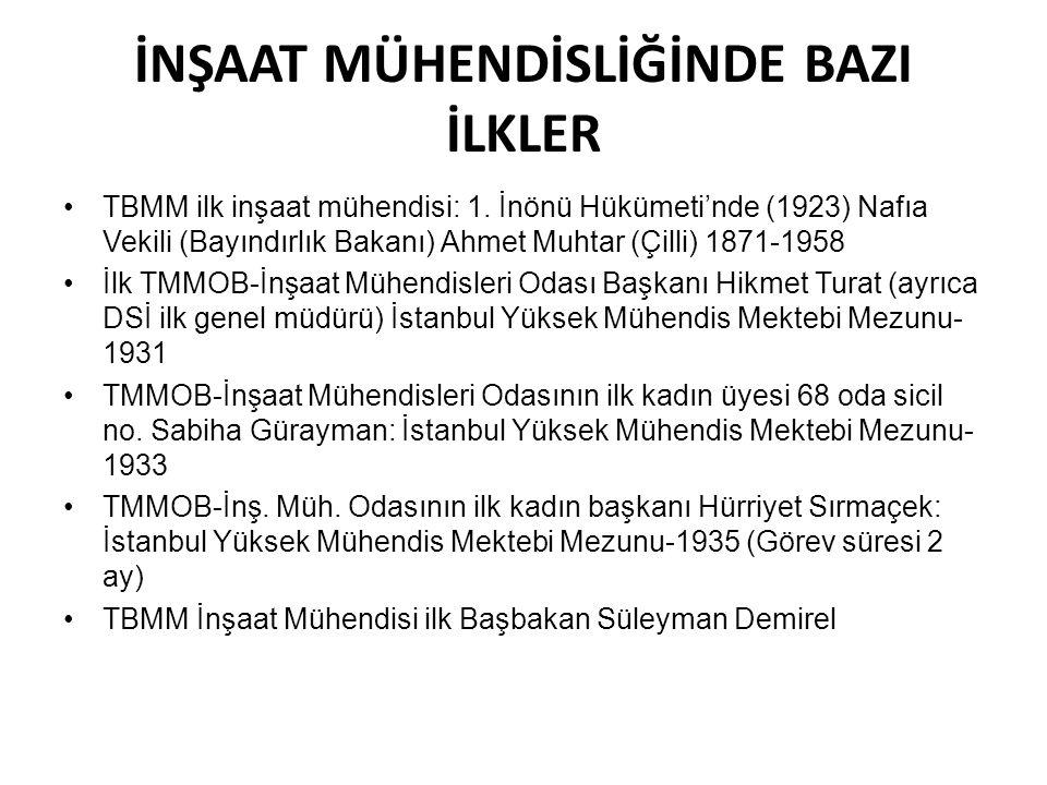 İNŞAAT MÜHENDİSLİĞİNDE BAZI İLKLER •TBMM ilk inşaat mühendisi: 1. İnönü Hükümeti'nde (1923) Nafıa Vekili (Bayındırlık Bakanı) Ahmet Muhtar (Çilli) 187