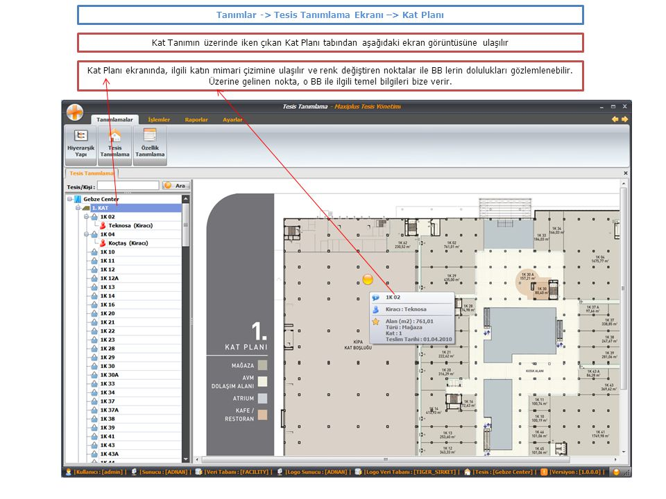 Tanımlar -> Tesis Tanımlama Ekranı –> Kat Planı Bir Kiracı tanımının üzerinde iken, Sözleşme tabı seçilmesi durumunda aşağıdaki ekran görüntüsüne ulaşılır Bu ekranda, ilgili Kiracı ile imzalanan Sözleşme bilgileri girilir.
