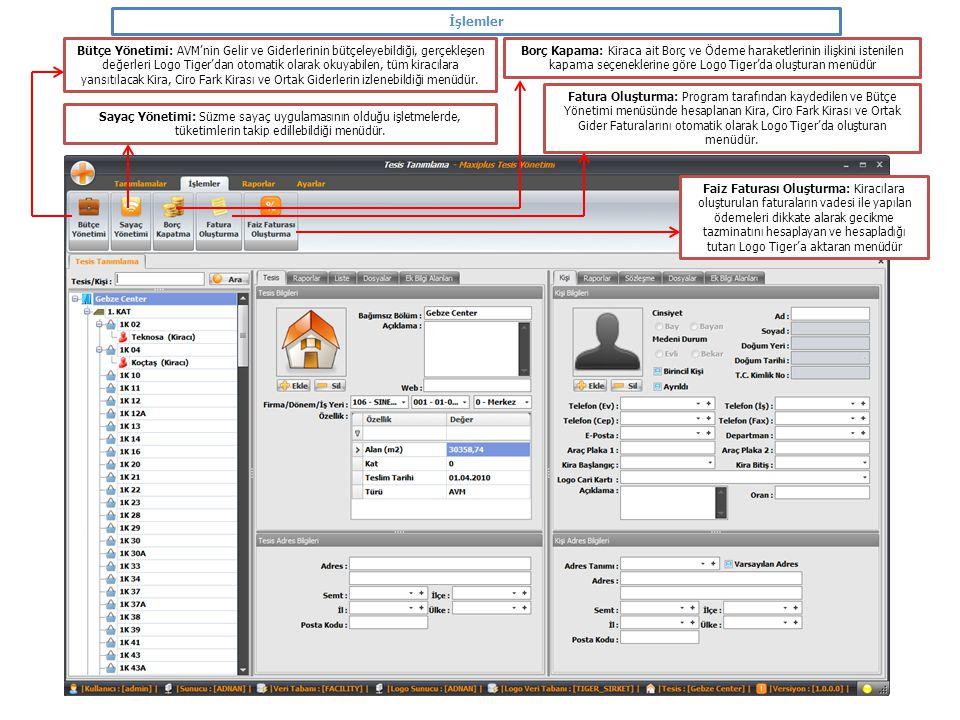 İşlemler Bütçe Yönetimi: AVM'nin Gelir ve Giderlerinin bütçeleyebildiği, gerçekleşen değerleri Logo Tiger'dan otomatik olarak okuyabilen, tüm kiracıla