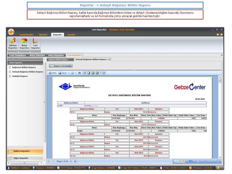 Raporlar -> Detaylı Bağımsız Bölüm Raporu Detaylı Bağımsız Bölüm Raporu, katlar bazında Bağımsız Bölümlerin listesi ve detaylı (kiralama bilgileri baz