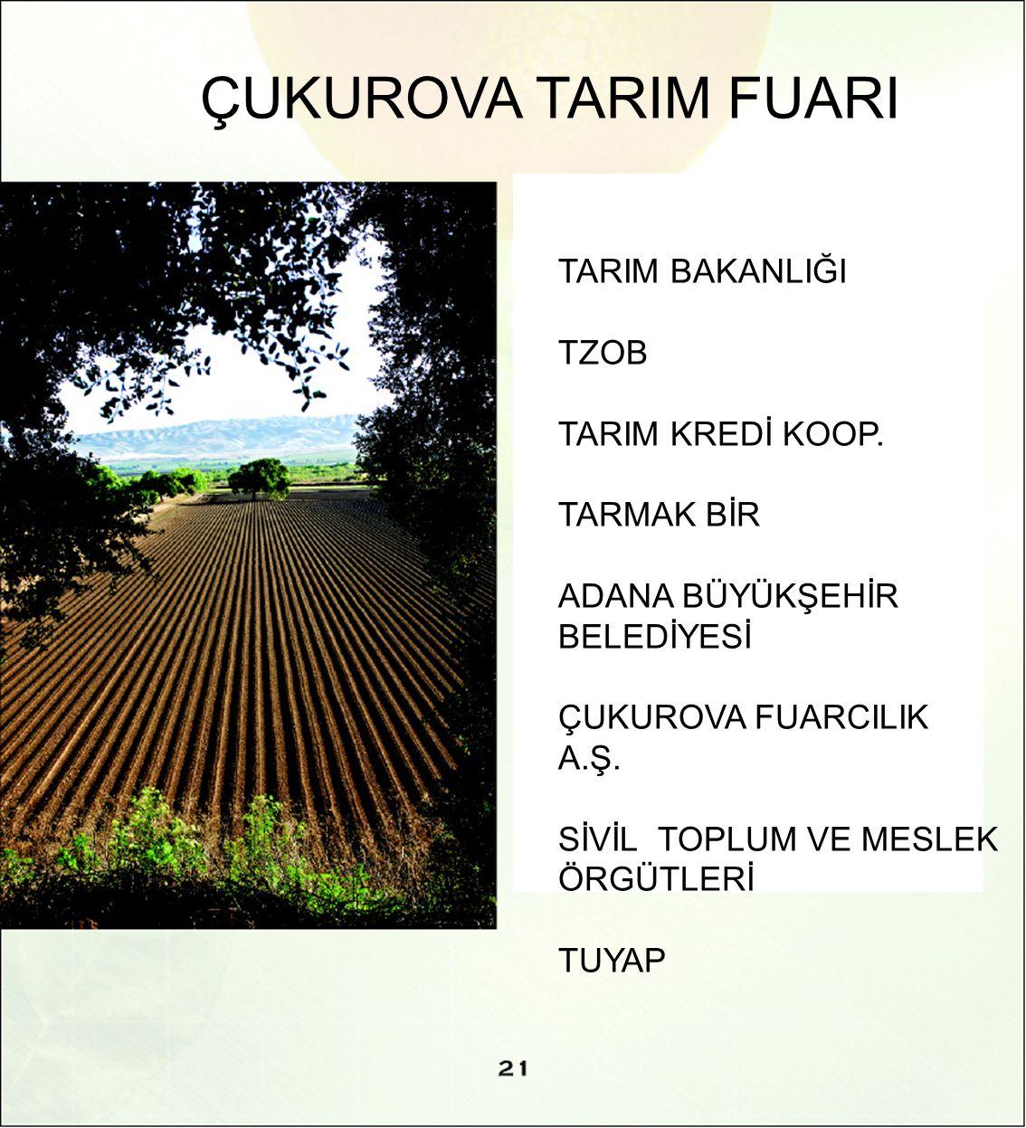 ÇUKUROVA TARIM FUARI TARIM BAKANLIĞI TZOB TARIM KREDİ KOOP.