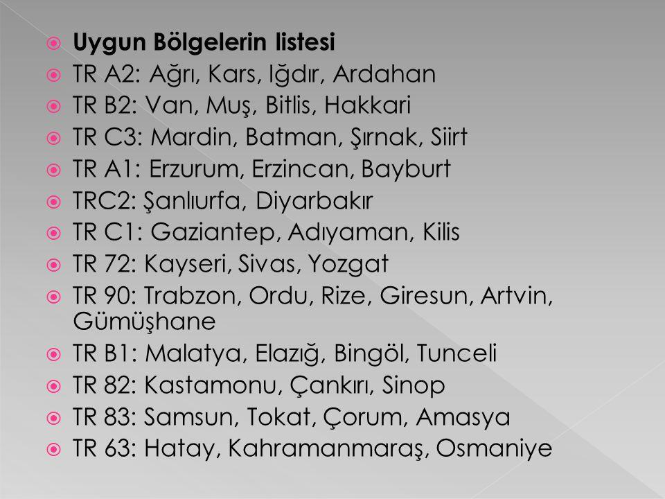  Uygun Bölgelerin listesi  TR A2: Ağrı, Kars, Iğdır, Ardahan  TR B2: Van, Muş, Bitlis, Hakkari  TR C3: Mardin, Batman, Şırnak, Siirt  TR A1: Erzu