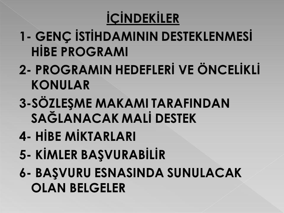 1-GENÇ İSTİHDAMININ DESTEKLENMESİ HİBE PROGRAMI  Türkiye-Avrupa Birliği (AB) mali işbirliği çerçevesinde diğer aday ve potansiyel aday ülkeler için olduğu gibi Türkiye için de Avrupa Toplulukları Katılım Öncesi Mali Yardım Aracı'nın (IPA'nın) yasal temelini oluşturmaktadır.Katılım Öncesi Mali Yardım Aracı(IPA)'nın ana hedefi, aday ülkelere, AB'ye uyum sürecinde engellerle mücadele etmeleri ve AB üyeliği için Kopenhag Kriterlerini yerine getirmeleri için gerekli reformları yapmaları konusunda destek olmaktır.