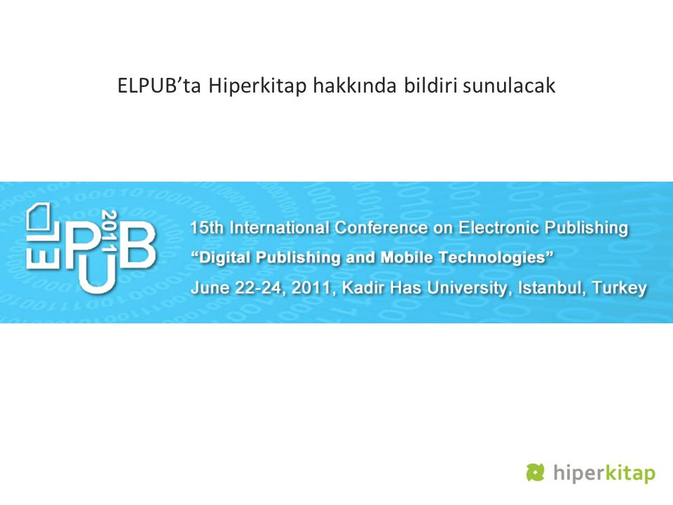 ELPUB'ta Hiperkitap hakkında bildiri sunulacak