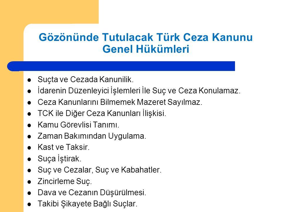 Gözönünde Tutulacak Türk Ceza Kanunu Genel Hükümleri  Suçta ve Cezada Kanunilik.  İdarenin Düzenleyici İşlemleri İle Suç ve Ceza Konulamaz.  Ceza K