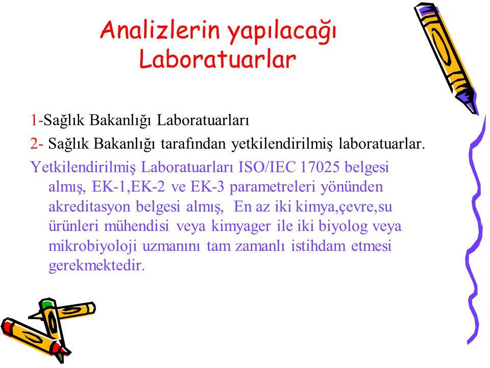Analizlerin yapılacağı Laboratuarlar 1-Sağlık Bakanlığı Laboratuarları 2- Sağlık Bakanlığı tarafından yetkilendirilmiş laboratuarlar. Yetkilendirilmiş