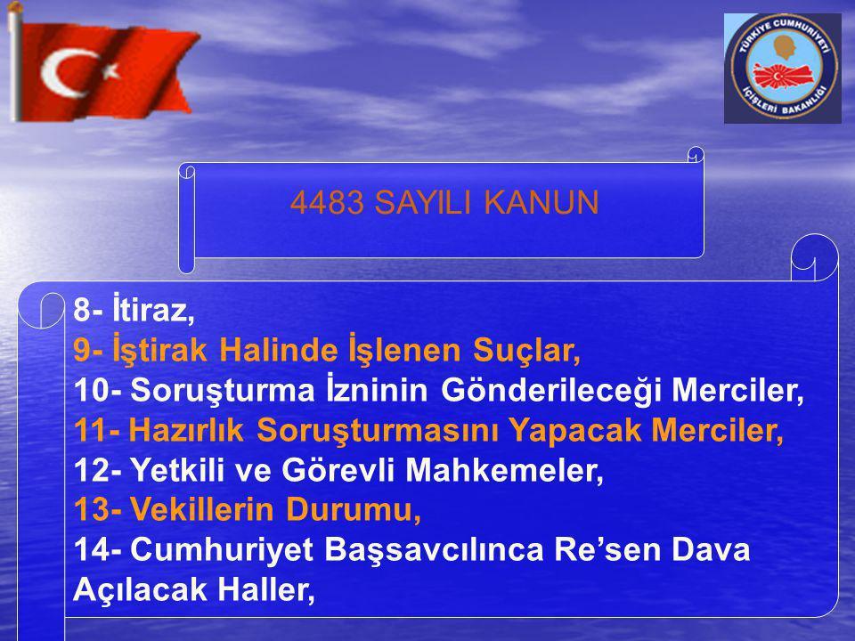 4483 SAYILI KANUN 8- İtiraz, 9- İştirak Halinde İşlenen Suçlar, 10- Soruşturma İzninin Gönderileceği Merciler, 11- Hazırlık Soruşturmasını Yapacak Mer